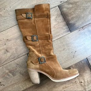 Via Spiga Suede Leather Boots Buckle Camel Tan 6.5